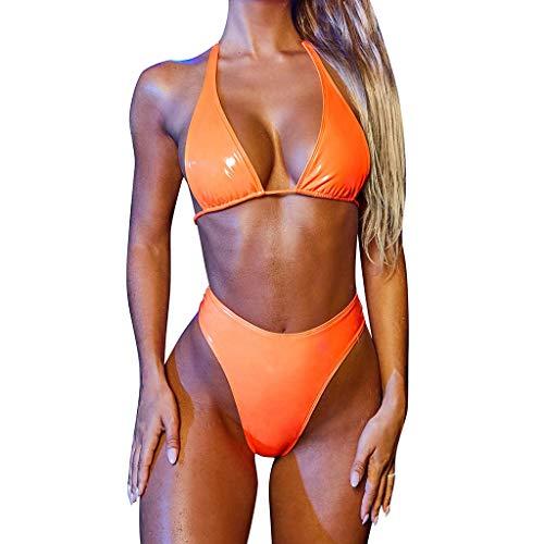 Damen Leder Bikini Set Lackleder Neckholder Triangel Hohe Taille High Cut Einfarbig Frauen Zweiteiliger Bademode mit Bikinihose Strandmode S Orange 487117 (Bademode Strandmode Strandbikini Two Piece)