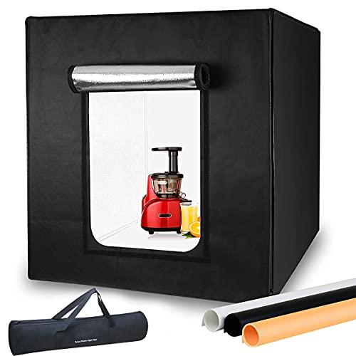 Salandens Caja de Luz 80 * 80cm/32' Caja de Fotografía portátil Estudio fotográfico, 126 LED Luz de Día 5500K Foto Estudio con 2...