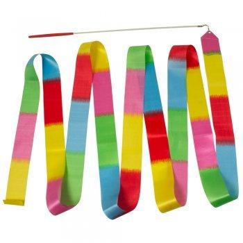 CIM Gymnastikband Rainbow Multicolor - 4m Satinband - mit Schwungstab - Rhytmische Sportgymnastik, Tanzband, Turnband, Schwungband, Wirbelband, Rhytmikband