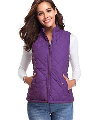 fuinloth Women's Padded Vest, Stand Collar Lightweight Zip Quilted Gilet Purple XS