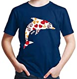 Hariz - Camiseta infantil, diseño de delfín con corazones y animales azul marino 24 meses