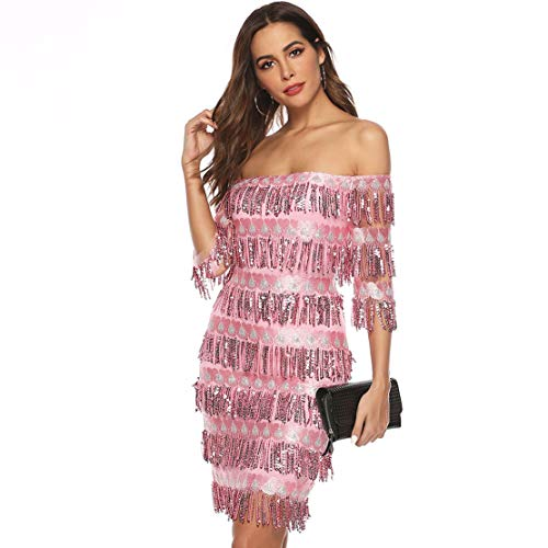 CHARTOU Womens Cute Off The Shoulder Sequin Fringe Mini Short Dresses Evening Gown (Pink, Medium)