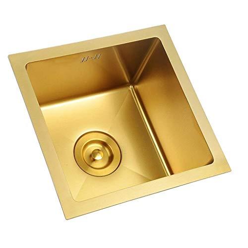 XJJZS Fregadero, Profundo Bajo Encimera Solo Vaso de Acero Inoxidable Fregadero de la Cocina (Color: Oro) (Size : 36 * 36 * 21.5cm)