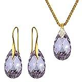Crystals & Stones – Violeta – Plata 925 chapado en oro 24 K Ganchos boda joyas Set de Swarovski – Pendientes y collar – Joyas con gratis caja de regalo