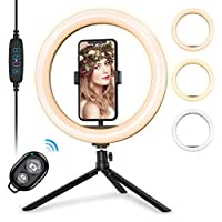 ORIA LEDリングライト 撮影照明用ライト USBライト 10in自撮りリングライト 3色モード付き 卓上ライト Bluetoothリモコン 高輝度LED スマホスタンド付き 10段階調光 3000-6500K 美容化粧/YouTube生放送/ビデオカメラ撮影用 三脚スタンド付き