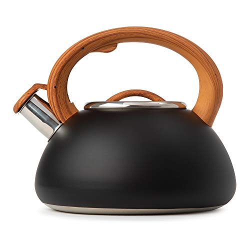 Primula Avalon Whistling Stovetop Tea Kettle Food Grade Stainless Steel Hot Water, Fast to Boil, Cool Touch Handle, 2.5 Quart, Black