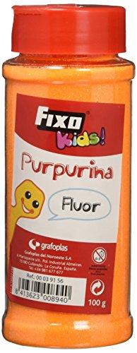 Fixo Kids 39156 - Purpurina para manualidades color naranja fluorescente. Bote de 100 gramos con dosificador tipo salero.