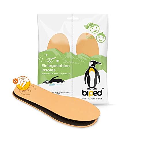 biped 2 pares de plantillas de cuero prémium para niño/a con carbón activo - plantillas de cuero para el sudor de pies - suaves plantillas de cuero para calzado infantil z2766 (30-31)