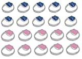 H14B - H14P Kids Ring Adjustable 20 Pack Alloy Blue and Pink CTR Ring Mormon LDS Unisex One Moment In Time