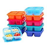 EasyLunchboxes - Bento Snack Boxes - Reusable 4-Compartment Food Containers for School, Work and Travel, Set of 10, (Jewel Brights)