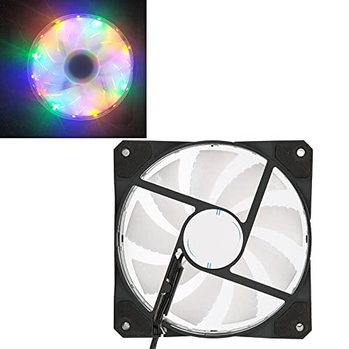 Ventilador de refrigeración de la CPU de la computadora, LED frío Que Brilla intensamente 12 cm Alto Volumen de Aire A Prueba de Golpes Silencioso 9 páginas de Ventilador Radiador(arcoíris)