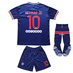 100% Polyester Matching shorts,socks are included. Comes with matching socks. Great gift set for any soccer fan. KID BOX Paris Home Football Soccer Kids Jersey Shorts Socks Set Youth Sizes Available in different colors.