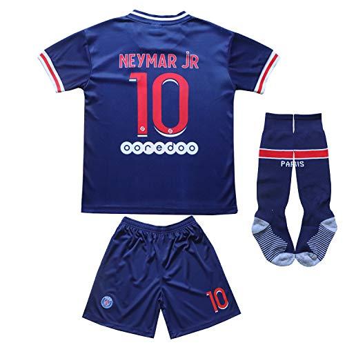 KID BOX Paris Home Football Soccer Kids Jersey Shorts Socks Set Youth Sizes (Neymar Blue, 8-9 Years)