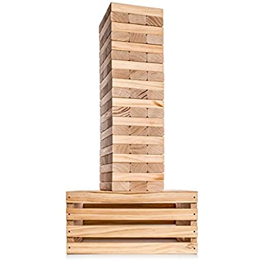 Splinter Woodworking Co Giant Tower Game | 60 Large Blocks with Storage Crate/Outdoor Game Table | Starts at 32in Big | Stacks up to 5ft During Gameplay | Jumbo Set for Family, Kids, Adults | by