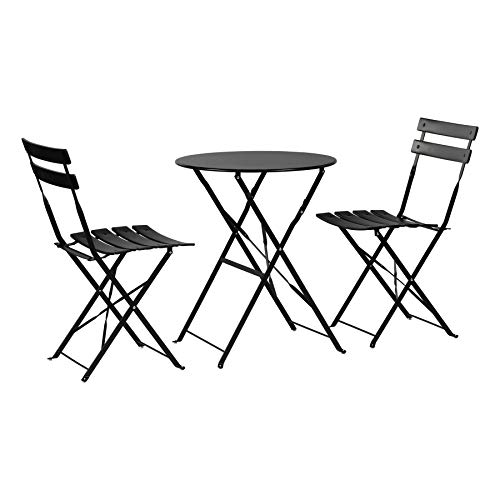 Harbour Housewares 3 Piece Sussex Bistro Set - Folding Table and Chairs Outdoor Patio Garden Furniture - Round - Black
