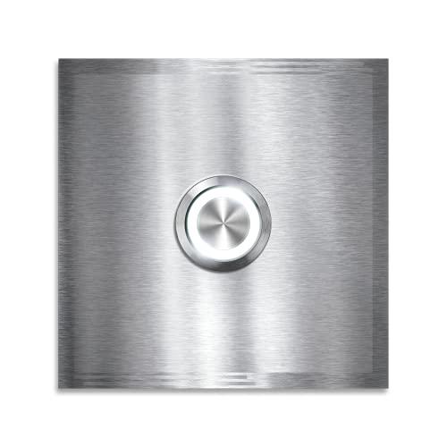 Metzler Edelstahl Türklingel - LED-beleuchtet - Türklingel aus Edelstahl V2A - Klingel-Platte - Moderne Türklingel - Größe: 80 x 80 mm