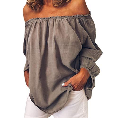 Kanpola Carmenblusen Damen Leinenbluse Elegant Schulterfreie Oberteile Atmungsaktiv Casual Basic Einfarbig Tshirts