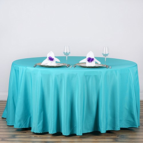 LinenTablecloth 120-Inch Round Polyester Tablecloth Turquoise