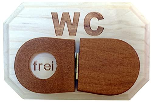 Plaque de porte WC en bois d'érable massif avec inscription en allemand \