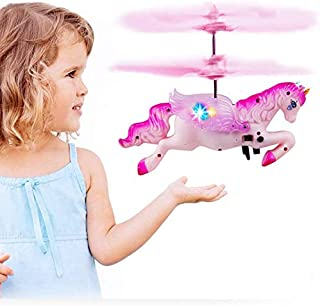 infinitoo Flying Helicopter Unicorn Drone Toy with USB Rechargeable Mini Infrared Induction, Hand Control, Fairy Tale Doll...