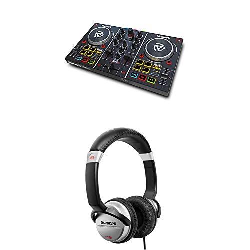 Numark Party Mix + FF125-2 Kanal Plug und Play DJ Controller für Serato DJ Lite + professioneller DJ Kopfhörer mit 2m Kabel und 40 mm Lautsprechern