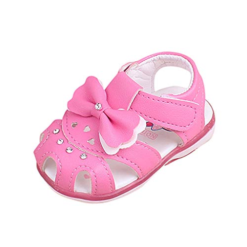 Toddler Girls Sandals,Girls Shoes Genuine Leather Soft Flower Princess Flat Shoes Girl Summer Sandals Closed Toe Children Shoes (0-3Months, Hot Pink)