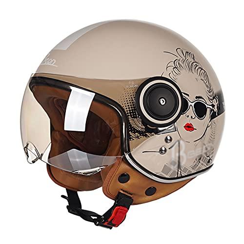 F&FSH Retro Style Open Helmet, With Sun Visor Bright Light Pink (girl Pattern) Half Face Moped Open Helmet Adult Light Helmet ATV Street Helmet DOT Certification