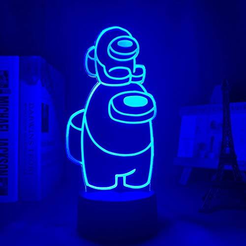 Estrategia de dibujos animados Casual Friends Game Among Us LOGO Muñeca linda 3D LED Acrílico Luz de noche Lámpara de mesa Ventiladores para niños Dormitorio Oficina Regalo para niños Decoración