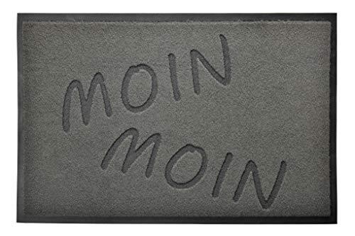 acerto 30370 Premium Fußmatte Schmutzfangmatte Extrem strapazierfähig Waschbar PVC-frei (Moin Moin 40x60cm, grau)