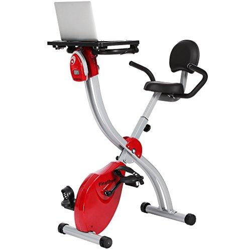 Finether Cyclette Magnetica Pieghevole con Scrivania per Laptop e Schienale, Cyclette da Casa con Protezioni Magnetiche a Resistenza Magnetica Regolabile Schermo LCD Sensori di Frequenza Cardiaca, Nero e Rosso