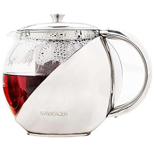 NAVA Teebereiter Teekanne Glaskanne mit Siebeinsatz Deckel 0,5l