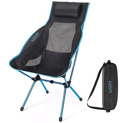 G4Free Folding Camping Chair, High Back Lightweight Camp Chair with Removable Pillow, Side Pocket & Carry Bag, Compact & Heavy Duty for Outdoor, Picnic, Festival, Hiking, Backpacking (Blue)