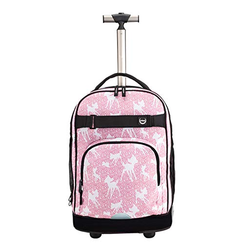 FREETT Girl Trolley Backpack, Child School Trolley Suitcase, with Wheeled and Laptop Compartment, Women Travel Bag, for Youth Boarding and Student, Pink, 32 * 20 * 46 cm