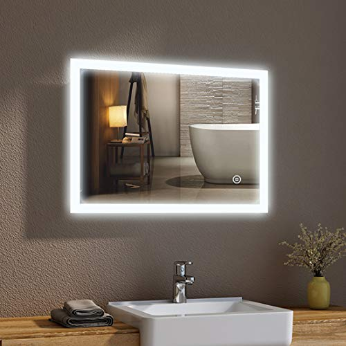 Badspiegel mit Beleuchtung 50 x 70 cm LED Spiegel Wandspiegel mit Beleuchtung Kaltweiß Lichtspiegel mit Touchschalter IP44 Energiesparend