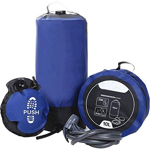 Qxkl Sac de Camping - Douchette de Camping Portable avec Pompe à Pied pour Tuyau Flexible, Sac de Douche Gonflable extérieur 12L Sacs de Stockage d'eau de Camping