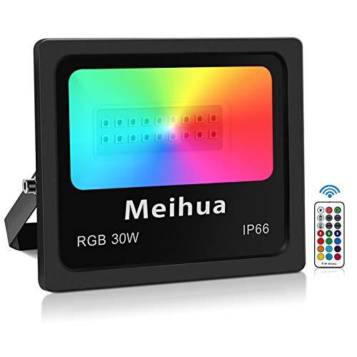 RGB Strahler mit Fernbedienung MEIHUA 30w RGB Fluter 13 Farben 4 Modi Dekorative Lichte Memory Funktion 360°Steuerung RGB Außenstrahler IP66 Wasserdicht für Halloween Geburtstags Party Hochzeit