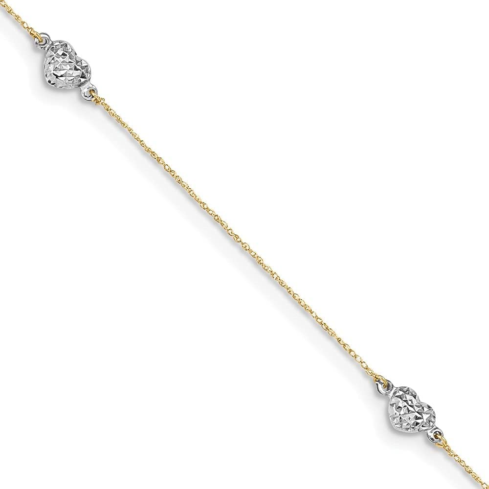 14k Two-tone Gold Puff Heart Anklet 10inch for Women