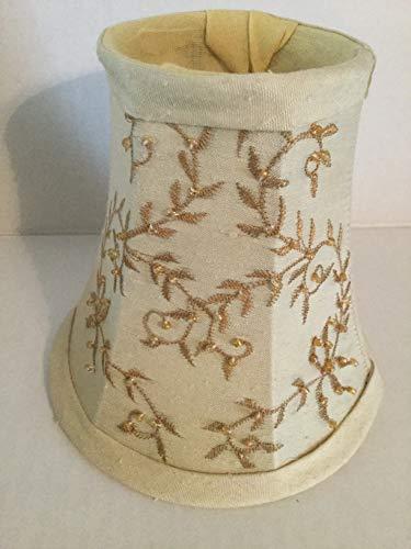 Silk Light Shade with Beaded Vine Design, Cream Miniature Silk Lamp Shade 5' x 5'