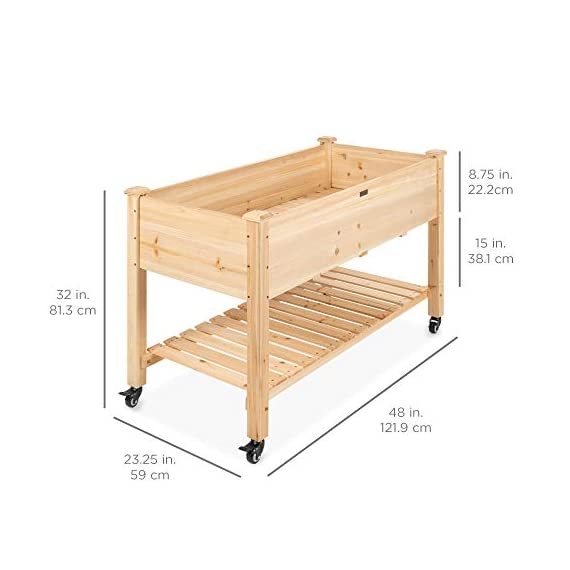 Best Choice Products Raised Garden Bed 48x24x32-inch Mobile Elevated Wood Planter w/Lockable Wheels, Storage Shelf… 2 EASY MOBILITY: Built with a set of locking wheels to move the planter from place to place and capture the right amounts of sun and shade ERGONOMIC STRUCTURE: Stands 32 inches tall, making it perfect for those who struggle to bend down or lean over while gardening GARDEN BED LINER: Separates wood from the soil, keeping planter in excellent condition and preventing weeds and pests from interfering with plant growth