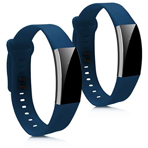 kwmobile 2X Brazalete Compatible con Huawei Band 2 / Band 2 Pro - Pulsera de Silicona Azul Oscuro sin Fitness Tracker