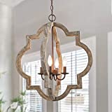 LOG BARN Large Farmhouse Chandelier Handmade Wood 4 Lights Fixtures Hanging for Dining, Bedrooms, Living Rooms and Hallway