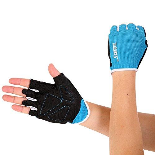 Aesy Guantes de gimnasio para mujeres/hombres, guantes de entrenamiento corporal, fitness, ejercicio, levantamiento de pesas, (19,5 – 22,5 cm), color azul