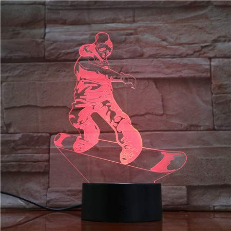 3D lamp bedlampje snowboard nachtlampje voor de kinderkamer, led-lamp voor de woonkamer perfect cadeau voor kinderen