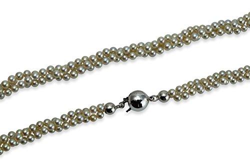 Unbekannt Damen Perlkette Akoya-Perle Silbergrau 3 Stränge kordiert mit Kugelschloß 585 Weißgold 14 ct Länge 40 cm H08-A0033