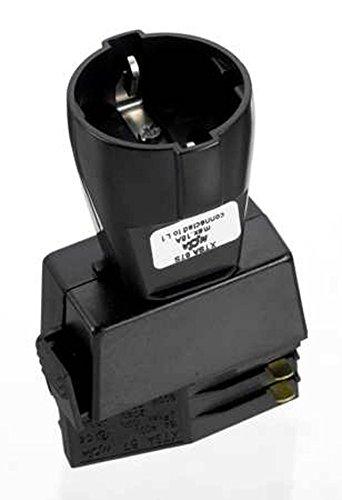 GlobalTrac 3-Phasenstromschiene Adapter mit Schukosteckdoese Anschluß für Stecker schwarz