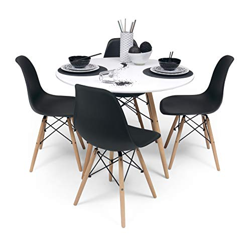 Homely - Conjunto de Comedor Tower 100. Mesa Redonda de 100 cm y 4 sillas Tower (Negro)
