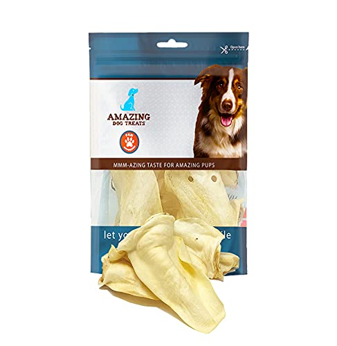 Cow Ears for Dogs - Full Size (25 Pack) - Thick-Cut 100% Beef - All Natural Rawhide Alternative- Safe No Hide Dog Chew