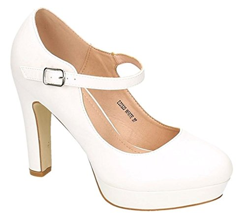 Klassische Sommer Mary Jane Damen Riemchen Plateau High Heels Abend Pumps Leder-Optik Blockabsatz Z19 (36, Weiß)