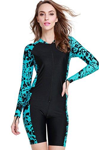 Damen Schwimmanzug Lang UV-Anzug UPF>50 Schutzkleidung Sunsuit Ganzk?rperansicht Badeanzug, - Blau-1 - M