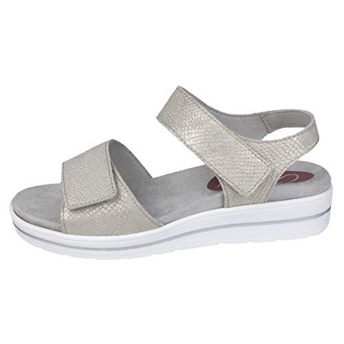 Cómoda Sandalia Mujer para Plantillas extraibles Color Crema Ideal para Esta Temporada Primavera - Verano 2019 para pies delicados Anchos Especiales 00077 (38 EU)